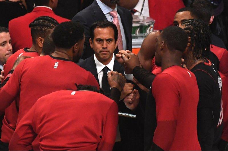 Coach Erik Spoelstra and the Miami Heat take on the New Orleans Pelicans on Sunday. Photo by Jon SooHoo/UPI