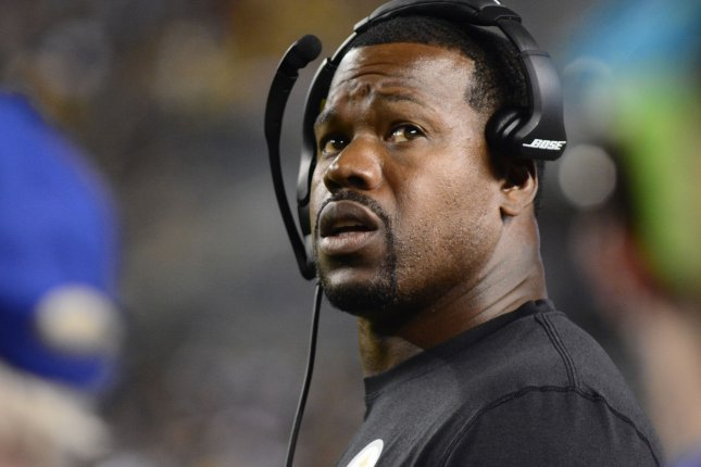 Pittsburgh Steelers coach Joey Porter watches a replay in the third quarter against the Baltimore Ravens on September 30, 2018 at Heinz Field in Pittsburgh. Photo by Archie Carpenter/UPI