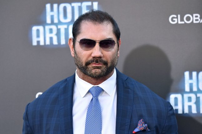 Dave Bautista attends the premiere of Hotel Artemis at the Regency Bruin Theatre in Los Angeles on May 19. The actor turns 50 on January 18. File Photo by Chris Chew/UPI