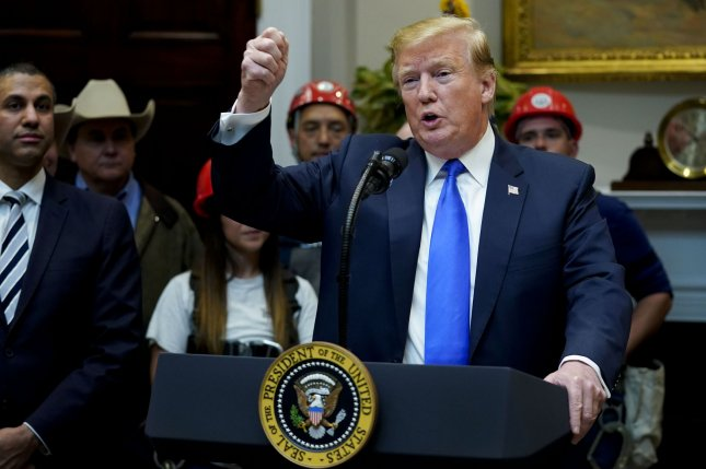 President Donald Trump delivers remarks on 5G deployment and addressing efforts to boost rural broadband Internet access in the Roosevelt Room at the White House on Friday. Photo by Leigh Vogel/UPI