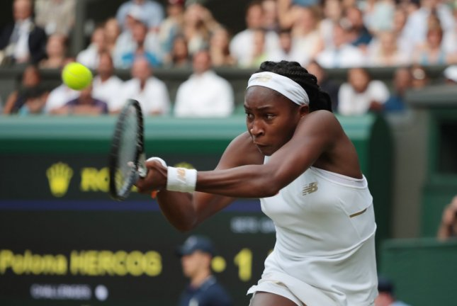 American Cori Gauff entered Wimbledon at No. 313 in the Women's Tennis Association world rankings, but will move inside the top 200 after reaching the round of 16 at the All-England Club in London. Photo by Hugo Philpott/UPI