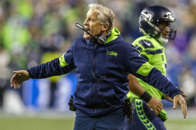 Seattle Seahawks head coach Pete Carroll has his team on a five-game winning streak after a win against the Vikings Monday in Seattle. Photo by Jim Bryant/UPI