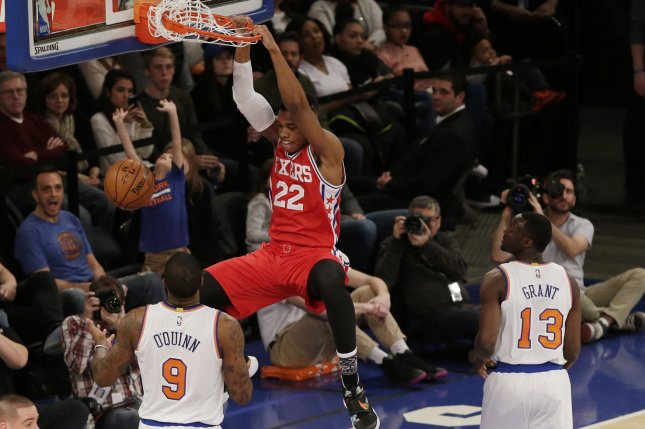 Former Philadelphia 76ers big man Richaun Holmes (22) is in his first season with the Sacramento Kings. He has averaged 12.8 points and 8.3 rebounds this season. File Photo by John Angelillo/UPI
