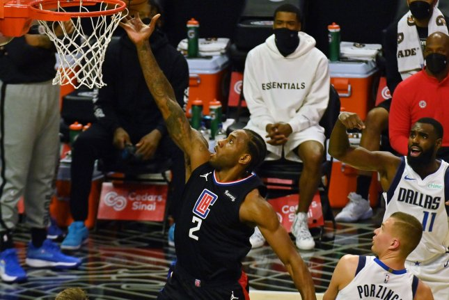 Los Angeles Clippers forward Kawhi Leonard (2), shown May 25, 2021, was injured during Game 4 of the Western Conference Semifinals against the Utah Jazz. File Photo by Jim Ruymen/UPI