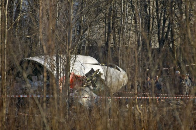 Wreckage of the plane crash that killed Polish President Lech Kaczynski is seen near Smolensk, in western Russia, on April 10, 2010. Polish President Lech Kaczynski, his wife Maria and high-ranking military and civilian leaders died when the plane crashed as it landed in thick fog. President Kaczynki and 95 others died in the crash. (File/UPI Photo/Alex Natin)