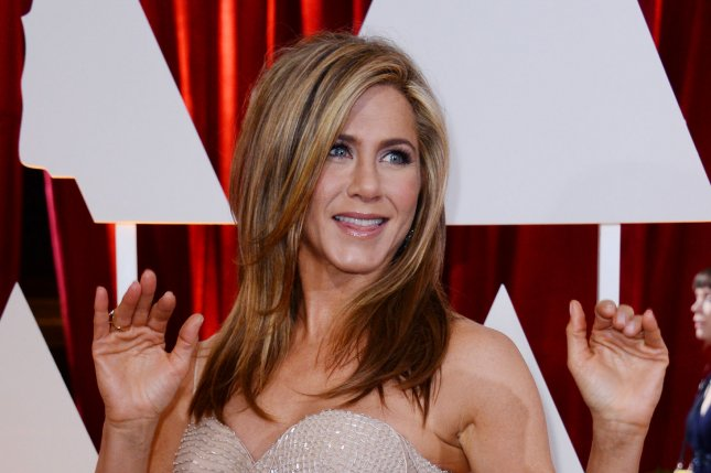 Jennifer Aniston at the Academy Awards on February 22, 2015. The actress plays a mom-of-two in Mother's Day. File Photo by Jim Ruymen/UPI