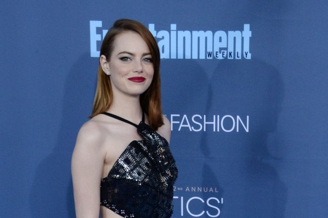 Emma Stone, who stars in best picture-winning La La Land, attends the 22nd annual Critics' Choice Awards in Santa Monica, California on Sunday. Photo by Jim Ruymen/UPI
