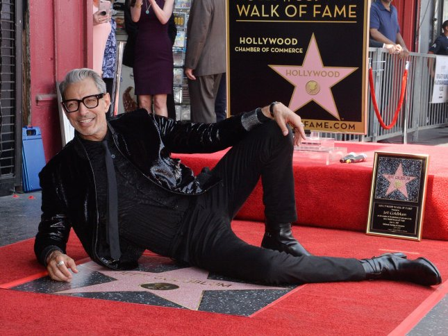 Actor Jeff Goldblum was honored with the 2,638th star on the Hollywood Walk of Fame during a ceremony in Los Angeles on Thursday. Photo by Jim Ruymen/UPI