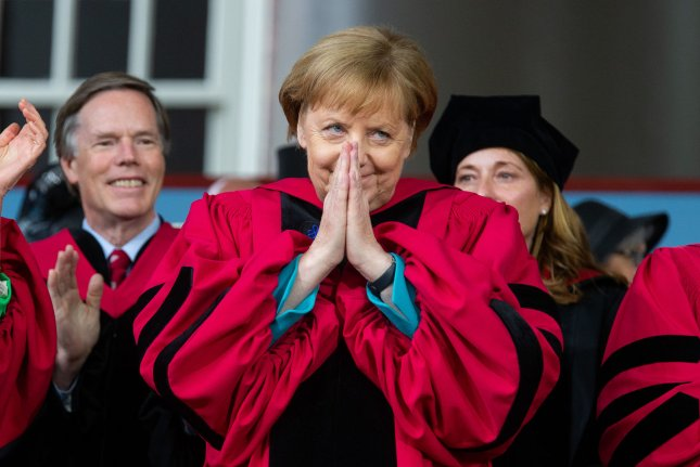 German Chancellor Angela Merkel receives an honorary degree Thursday at Harvard University's 368th commencement on the school's campus in Cambridge, Massachusetts. Photo by Matthew Healey/UPI