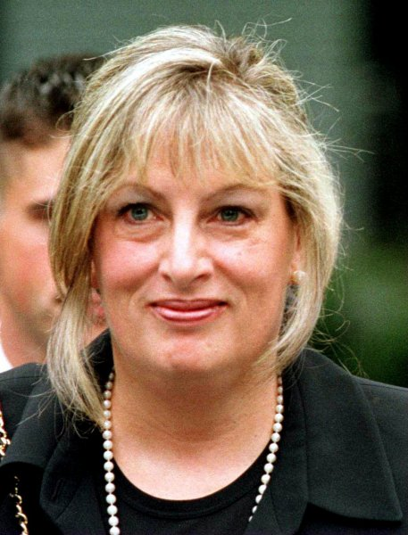 Linda Tripp, credited as a whistle-blower in the 1998 impeachment of former President Bill Clinton for sharing recordings of her conversations with Monica Lewinsky, died at the age of 70. File Photo by Robert Visser/UPI