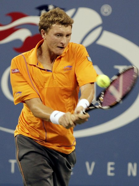 Denis Istomin, shown at the 2010 U.S. Open, posted a first-round win Monday at the Estoril Open in Portugal. UPI/John Angelillo