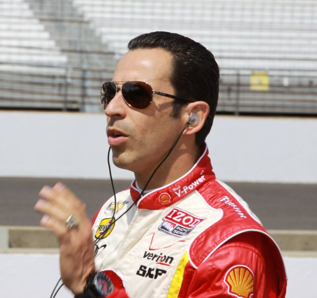 Three time Indianapolis 500 winner Helio Castroneves prepares to practice on opening day on May 12, 2012 in Indianapolis, Indiana. UPI/Ed Locke