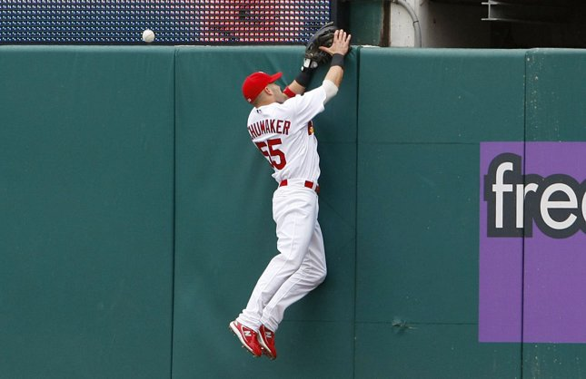 St. Louis Cardinals rightfielder Skip Schumaker misses the catch of a solo home run ball off the bat of Pittsburgh Pirates Nate McLouth in the first inning at Busch Stadium in St. Louis on May 15, 2008. Pittsburgh won the game 11-5. (UPI Photo/Bill Greenblatt)