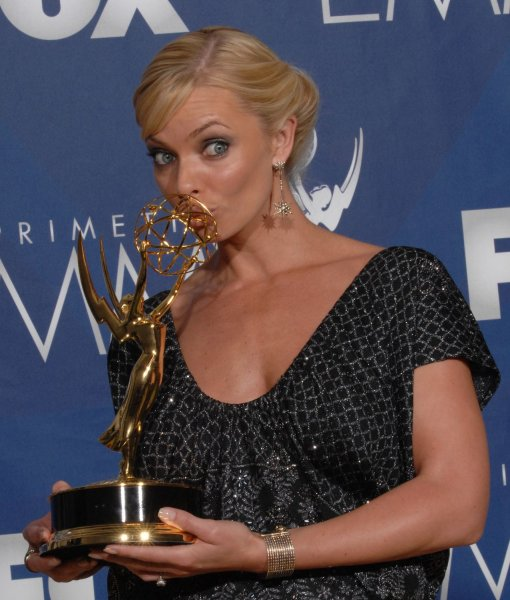 Jaime Pressly kisses her Emmy for work on 'My Names Is Earl at the 59th Primetime Emmy Awards at the Shrine Auditorium in Los Angeles on September 16, 2007. (UPI Photo/Scott Harms)