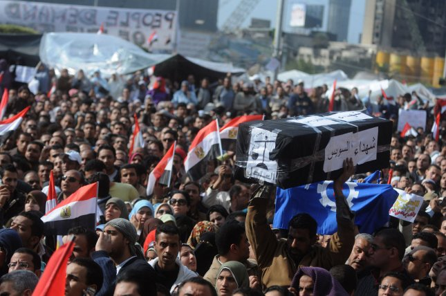 Egyptian anti-government demonstrators hold a symbolic funeral for colleagues who have died in anti-government protesters in Egypt on February 8, 2011 on the 15th day of protests against the regime of President Hosni Mubarak. UPI
