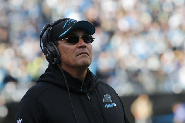 Carolina Panthers coach Ron Rivera watches his team play the Seattle Seahawks in the second half of a NFC divisional playoff football game at Bank of America Stadium in Charlotte, North Carolina on January 17, 2016. . The Panthers won 31-24. Photo by Nell Redmond/UPI .