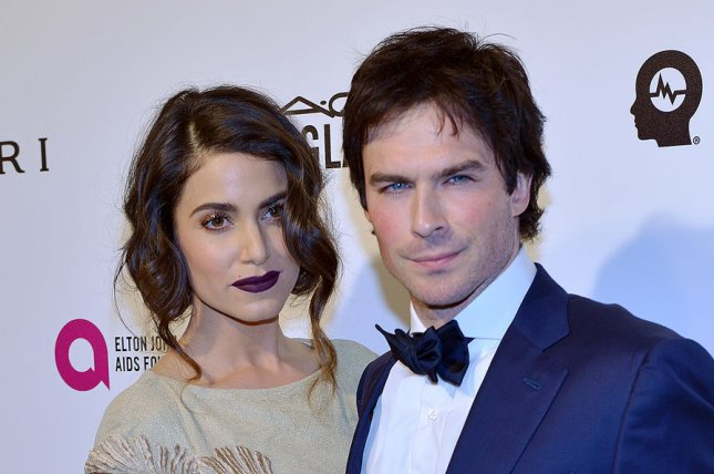 Nikki Reed (L) and husband Ian Somerhalder at the Elton John AIDS Foundation Academy Awards viewing party on February 28. The couple married in April 2015. File Photo by Christine Chew/UPI