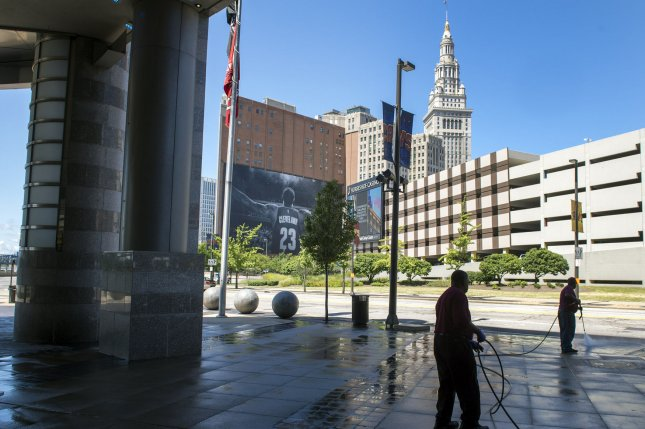 The public space immediately outside Quicken Loans Arena in Cleveland will be cordoned off for security purposes during the Republican National Convention next month. The ACLU has sued the city, saying restrictions on public demonstrations violate the First Amendment. File Photo by Kevin Dietsch/UPI