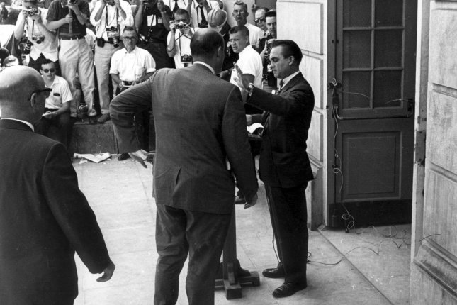 Alabama Governor, George Wallace, is seen here in June of 1963, when he blocked two black students from enrolling in the all-white University of Alabama. Wallace, whose political career was marked by resistance to racial integration, died September 13, 1998, at a Montgomery Hospital in Alabama. (UPI Photo/Files)
