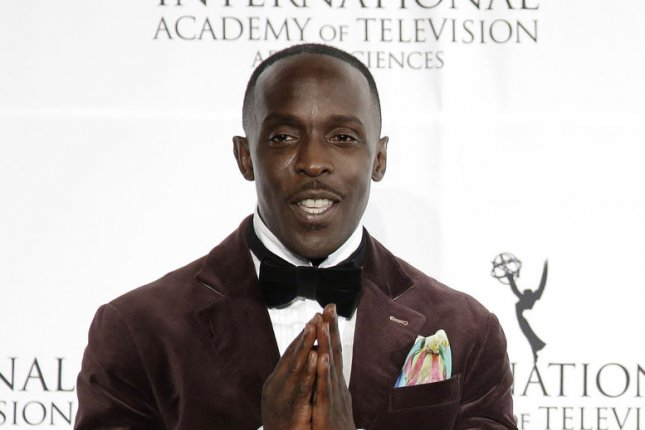 Michael K. Williams arrives in the press room at the 41st International Emmy Awards in New York City on November 25, 2013. Williams has been cut from Disney's upcoming Han Solo film as it undergoes reshoots. File Photo by John Angelillo/UPI