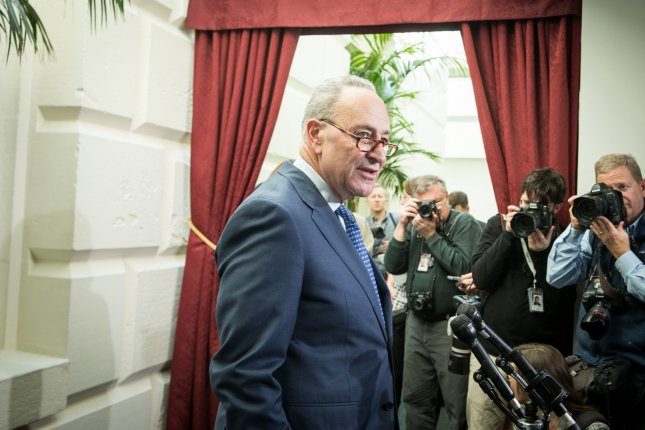 Senate Democratic leader Chuck Schumer filed a police report after learning of a false document that accused him of sexually harassing a former staffer. Photo by Erin Schaff/UPI