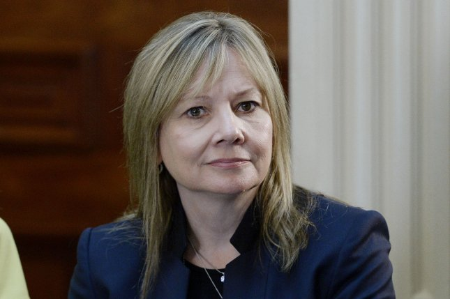 The automotive industry had more than 8,800 layoffs in March, including some at GM, led by CEO Mary Barra. File Pool Photo by Olivier Douliery/UPI