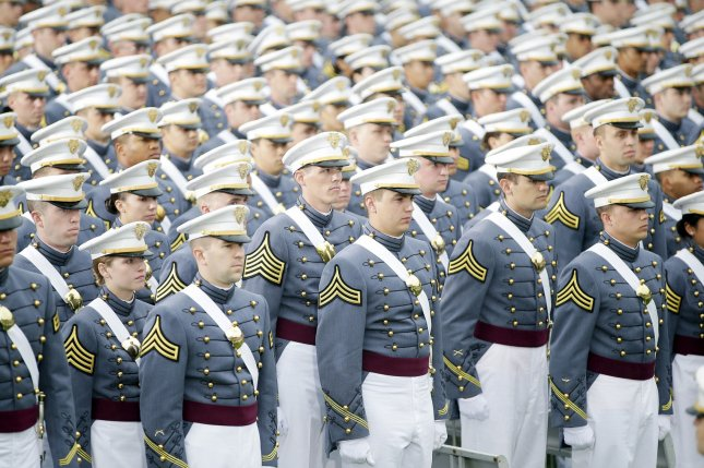 Cadets stand during a graduation ceremony at the United States Military Academy in West Point, N.Y. File Photo by John Angelillo/UPI