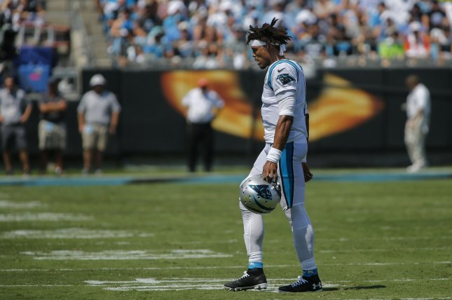 Carolina Panthers quarterback Cam Newton hasn't played since Week 2 and has no timetable to return due to his foot injury. Photo by Nell Redmond/UPI