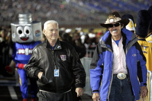 NASCAR legend Junior Johnson (L) was a member of the inaugural Hall of Fame class inducted in 2010. File Photo by Nell Redmond/UPI