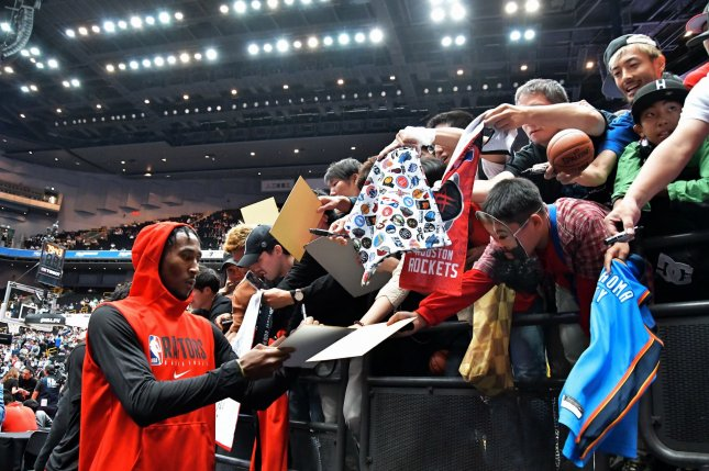 NBA players have been urged not to exchange items with fans during autograph sessions amid the spread of the coronavirus. File Photo by Keizo Mori/UPI