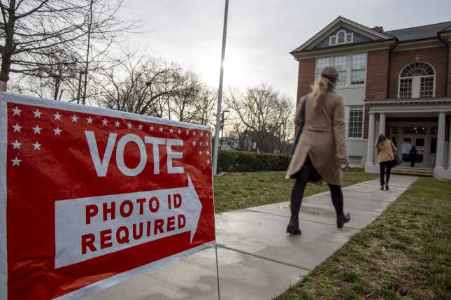 Voters cast ballots at the Arlington Arts Center during the Democratic presidential primary on March 3 in Arlington, Va. File Photo by Tasos Katopodis/UPI