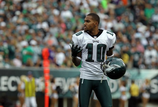 Philadelphia Eagles DeSean Jackson, shown during a game in September 2012, has injured ribs and will be placed on injured reserve, the team said Tuesday. UPI / Laurence Kesterson