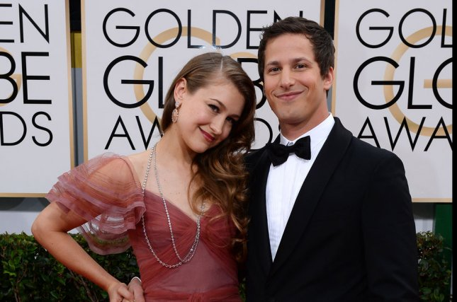 Songwriter Joanna Newsom and actor Andy Samberg arrive for the 71st annual Golden Globe Awards at the Beverly Hilton Hotel in Beverly Hills, California on January 12, 2014. UPI/Jim Ruymen