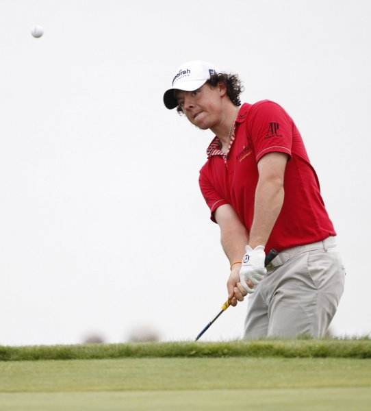 Rory McIlroy, show in a file photo from last year's PGA Championship, owns a 1-stroke lead halfway through the European Tour's Dubai Desert Open. UPI/Brian Kersey