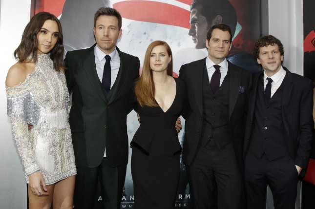 Gal Gadot (L-R), Ben Affleck, Amy Adams, Henry Cavill and Jesse Eisenberg arrive on the red carpet at the Batman V Superman: Dawn Of Justice premiere on March 20, 2016. An official synposis for the film's sequel Justice League has been released. File Photo by John Angelillo/UPI