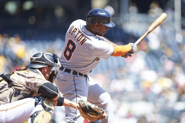 Justin Upton pushed the Detroit Tigers past the Minnesota Twins on Saturday. Photo by Shelley Lipton/UPI