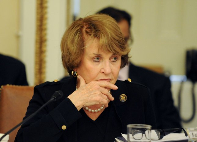 Rep. Louise Slaughter, D-N.Y., died after a fall in her Washington, D.C., home days earlier. She was 88. File Photo by Alexis C. Glenn/UPI