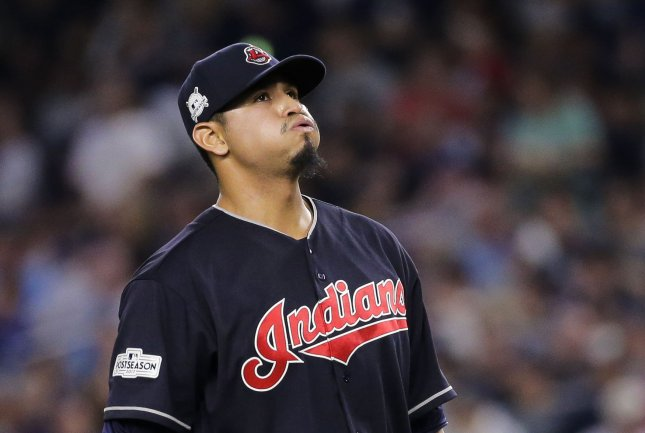 Carlos Carrasco and the Cleveland Indians take on the Minnesota Twins on Tuesday. Photo by Ray Stubblebine/UPI