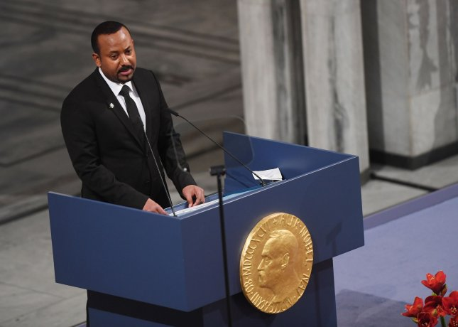 Ethiopian Prime Minister Abiy Ahmed Ali speaks Tuesday upon receiving the 2019 Nobel Peace Prize at City Hall in Oslo, Norway. Photo by Rune Hellestad/UPI