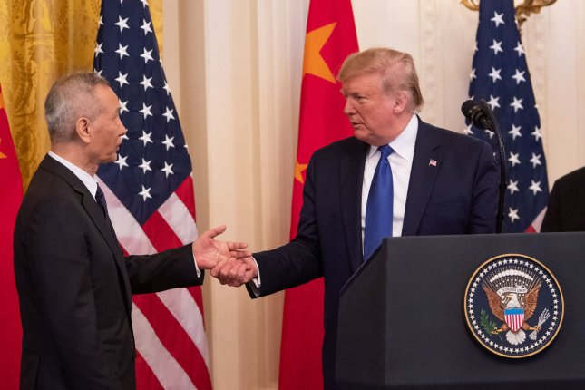U.S. President Donald Trump shakes hands with Chinese Vice Premier Liu He in the East Room of the White House in Washington, D.C., on January 15. Diplomacy between Washington and Beijing is the topic of a hearing Wednesday in the Senate foreign relations committee. File Photo by Kevin Dietsch/UPI