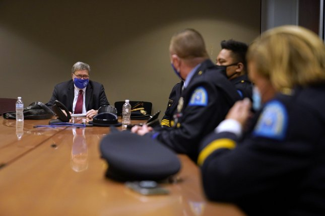 U.S. Attorney General William Barr meets Thursday with members of the St. Louis Police Department in St. Louis. The officers are among several in the department who have been shot in the line of duty this year. Photo by Jeff Roberson/UPI/Pool