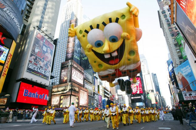 Nickelodeon's SpongeBob SquarePants balloon floats during Macy's annual Thanksgiving Day Parade. Nickelodeon and other ViacomCBS networks are coming to Hulu + Live TV. File Photo by John Angelillo/UPI