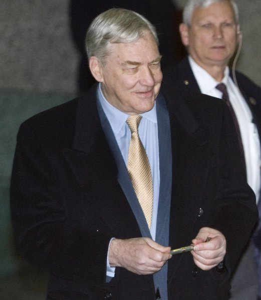 Former Media Mogul Conrad Black arrives at Federal Court for his sentencing hearing in Chicago on December 10, 2007. Black, who faces up to 35 years in prison, was convicted in July of three counts of mail fraud and obstruction of justice for his role in a scheme which bilked shareholders out of millions of dollars. (UPI Photo/Brian Kersey)