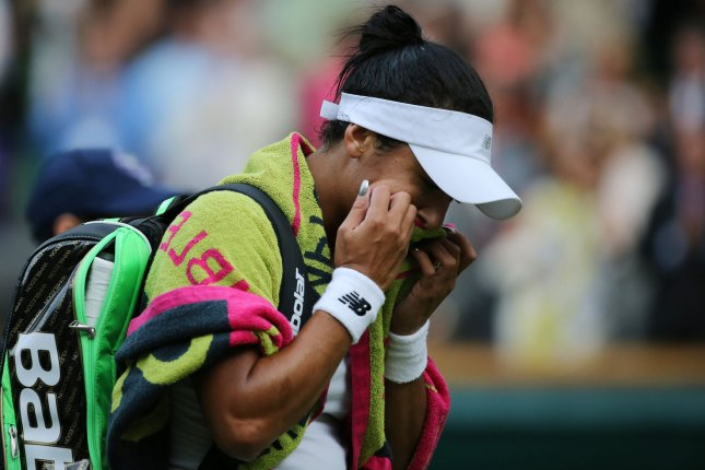 Great Britain's Heather Watson reacts during her match against American Serena Williams on day five of the 2015 Wimbledon championships, London on July 03, 2015. Williams won the match 6-2, 4-6, 7-5. Photo by Hugo Philpott/UPI.