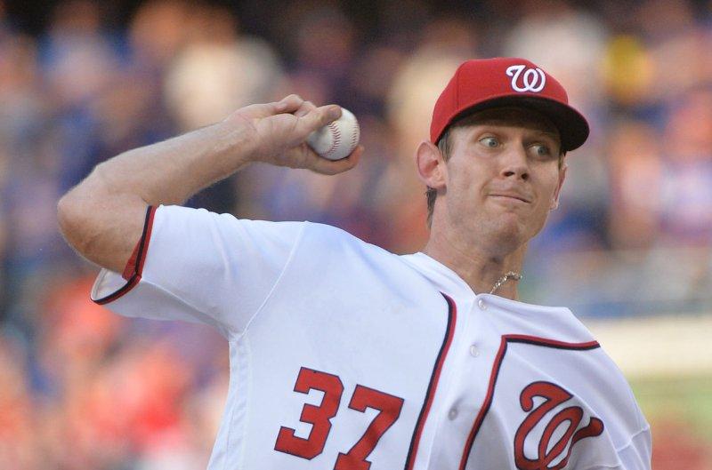 Washington Nationals starting pitcher Stephen Strasburg (37). Photo by Kevin Dietsch/UPI
