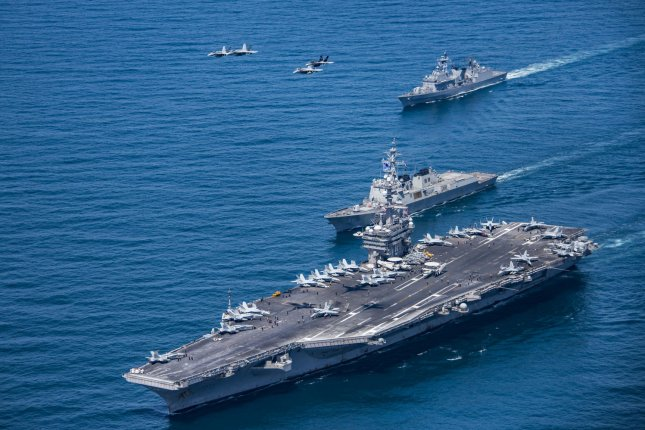 The U.S. Navy aircraft carrier Carl Vinson continues to conduct joint drills with South Korea's navy. File Photo courtesy of Sean M. Castellano/U.S. Navy/UPI