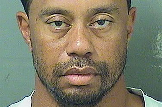 Golfer Tiger Woods, 41, seen here in his booking photo, was arrested May 29, accused of driving under the influence near his home in Jupiter, Fla. Photo courtesy Palm Beach County Sheriff's Office/UPI