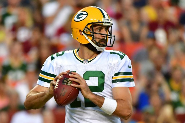 Green Bay Packers quarterback Aaron Rodgers (12) looks to pass against the Washington Redskins in their preseason game on August 19, 2017 at FedEx Field in Landover, Maryland. Photo by Kevin Dietsch/UPI
