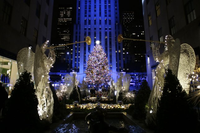 The Rockefeller Center Christmas Tree is lit for the first time of the season after the 86th annual Christmas Tree Lighting Ceremony at Rockefeller Center in New York City on November 28, 2018. Photo by John Angelillo/UPI