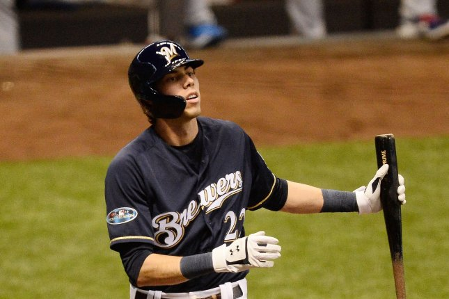 Milwaukee Brewers' Christian Yelich is on fire to start the 2019 MLB season, as he tied a mark Sunday with his fourth homer in just his fourth game of the season. File Photo by Brian Kersey/UPI